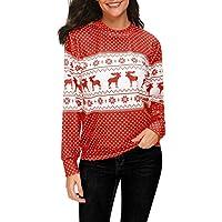 Hanomes Damen Pullover,Damen Mode Weihnachtsdruck Rundhalsausschnitt Pullover Sweatshirt Casual Lose Langarm T-Shirt... preisvergleich bei billige-tabletten.eu