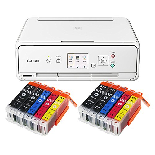 Canon Pixma TS5051 TS-5051 Farbtintenstrahl-Multifunktionsgerät (Drucker, Scanner, Kopierer, USB, WLAN, Apple AirPrint, SD-Kartenleser) weiß + 10er Set IC-Office XL Tintenpatronen 570XL 571XL - Apple-kompatible Drucker