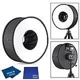 Phot-R 45cm 18 Universal-Klapp-Macro Ring Runde Blitz-Diffusor Softbox für DSLR SLR Digitalkamera Blitz + Tragetasche + Microfibre & Chamois Tuch
