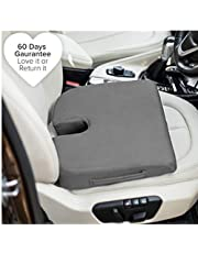 FOVERA Orthopedic U-Cut Out Wedge Memory Mesh Foam Cushion Car Seat for Long and Comfy Drive (Medium, Below 80 kg Weight, Grey-Cover)