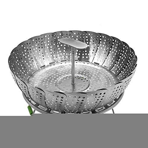 Pepional Steamer Basket Rack Set 11 Zoll Edelstahl Faltdampfer Teleskop Dampfer verwendet Werden, um die Speisen mit einem Teller zu dämpfen, wie Fisch, Tamale, Krabben, Gemüse und mehr Tamale Rack