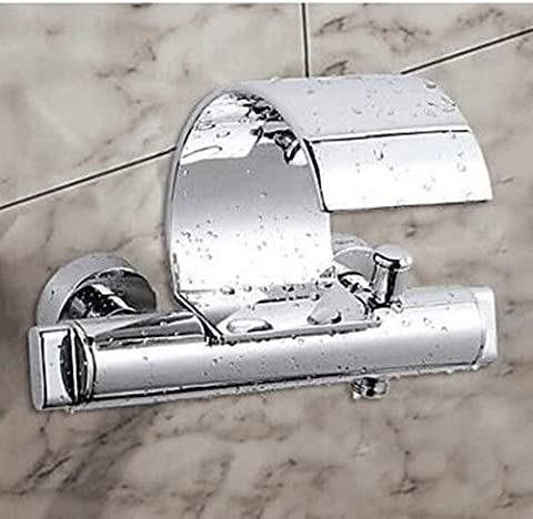 Cascade murale Chrome UHM froid+Lavabo Mitigeur baignoire chaude du robinet en laiton
