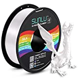 SUNLU Silk PLA Filament 1.75mm, 3D Printer Filament Silk, Silky Shiny Filament PLA for 3D Printers and Pens, 1kg(2.2Lbs)/Spool, Silk White