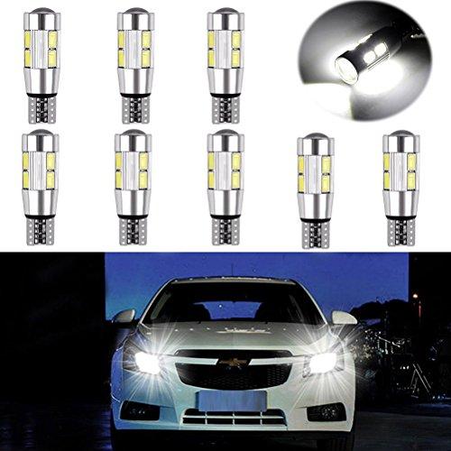 Ralbay Super Bright 8 x 10 SMD 5630 LED LED Replacement Can-Bus illuminazione interna della lampadina LED T10 W5W bianco 360 ° Angolo a fascio