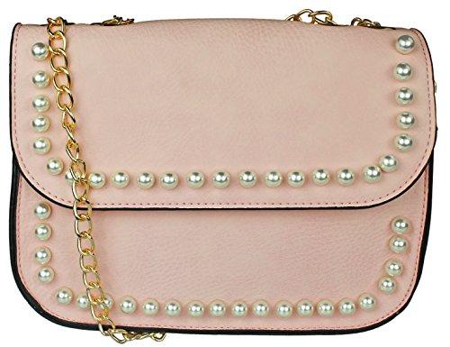 Abendtasche Envelope Clutch Kuvert Design mit großen und kleinen Perlen Damen
