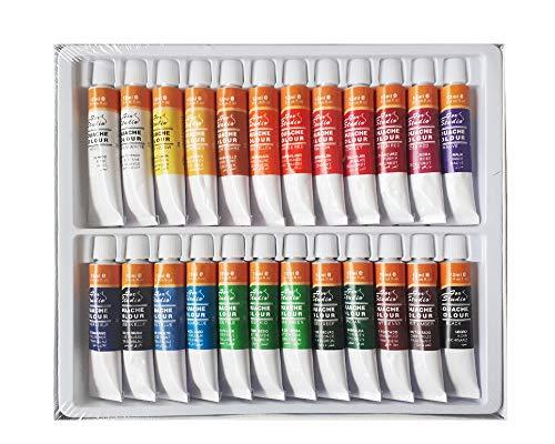 Gouache Farbset 24 Tuben je 12 ml, original Magi Qualität feine Künstlerqualität, wasserlöslich halbdeckend Aquarell - Wap Reinigung