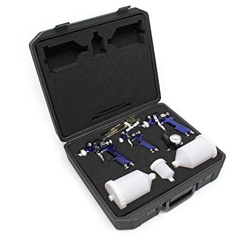 HVLP Pistola de spray 3x Pistola aerográfica 1,7mm 1,4mm 1,0mm Set manorreductor maletín Pistola Aire