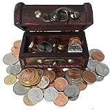 IMPACTO COLECCIONABLES Pièces de Monnaie de Collection - 100 pièces Frappées en Fleur de Coin de 100 Pays + Coffre comme Cadeau