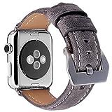 Apple Watch Armband 42mm,MisVoice Uhrenarmband Business Stil Hauptschicht Leder Ersatz Band/Armband mit Edelstahl Verschluss für iWatch Serie 0 1 2 3 Sport und Edition Versionen Grau