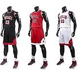 Yezelend Uomo NBA Michael Jordan # 23 Chicago Bulls Retro Pantaloncini da Basket Summer Jerseys Basket Maglie Uniforme Top e Shorts (Nero, XL)