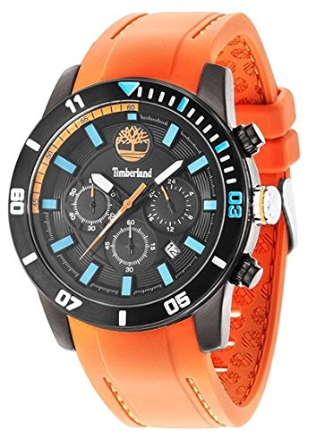 Timberland Men's Quartz Watch with Black Dial Analogue Display and Orange Silicone Strap TBL.14524JSB/02P