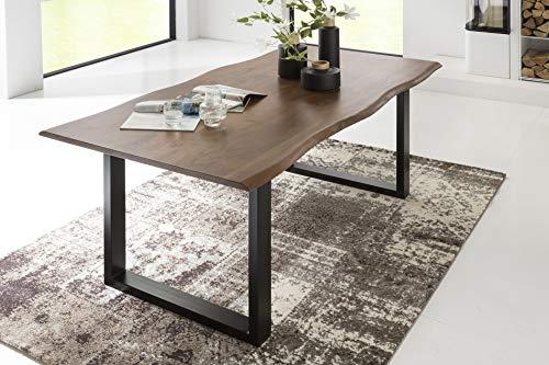 SalesFever Esszimmer-Tisch 120x80 cm   Akazie   echte Baumkante   nussbaum-farbig   schwarzes U-Gestell aus Metall   Massiv-Holz