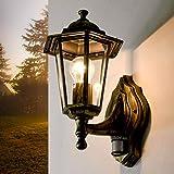 Oro Antica lampada da esterno con rilevatore di movimento PARIGI lanterna sensore di forma di lanterna lampada da parete lampada da parete per esterni porta balcone