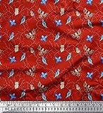 Soimoi Rojo terciopelo Tela robin, búho y águila pajaro tela estampada de 1 metro 58 Pulgadas de ancho