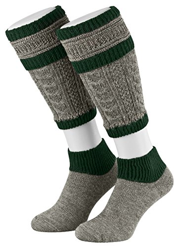 Tobeni 2-teilig Herren Loferl Stutzen Trachtenstrümpfe Trachten Socken in verschiedenen Farben, Farbe:Grau-Tanne;Größe:43-44