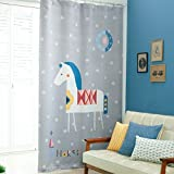 GWELL Kinderzimmer Gardinen Vorhang Blickdicht Ösenschal Dekoschal für Wohnzimmer Schlafzimmer 1er-Pack 270x130cm(HxB)Pferd