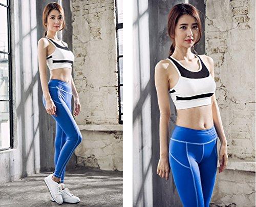Anguang Femme Taille Haute Serré Yoga Danse Pantalon Sport Fitness Legging Couleur Unie Bleu