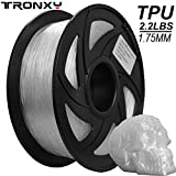 Filament pour imprimante 3D TPU flexible, 1,75 mm, couleur naturelle, précision +/- 0,05 mm, poids net 1 kg (2,2 lb) (transparent)