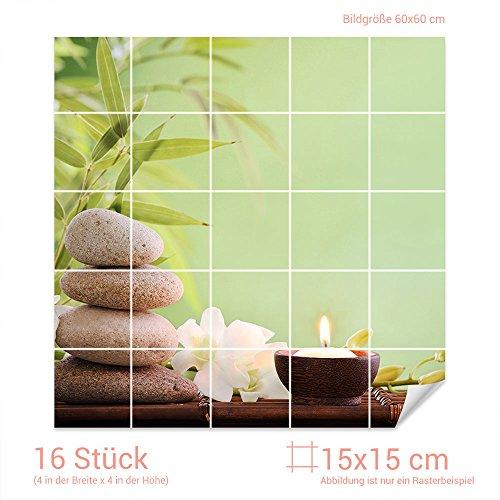 GRAZDesign Fliesenaufkleber Wellness - Set für Kacheln Bad-Fliesen mit Folie überkleben (Fliesenmaß 15x15cm (BxH) / Bild 60x60cm (BxH))