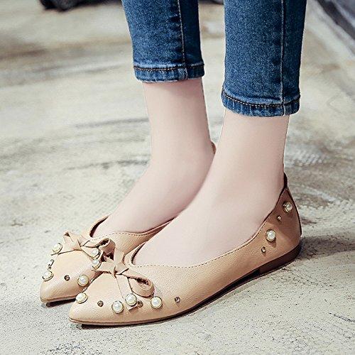 RUGAI-UE Estate bocca poco profonda perla piatto scarpe scarpe di prua Beige