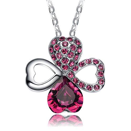 NEEMODA Kette Kleeblatt Anhänger Kristall Lila Herz Halskette Damen Schmuck geschenk für sie frauen Geburtstag jahrestag Valentinstag Weihnachten Muttertag