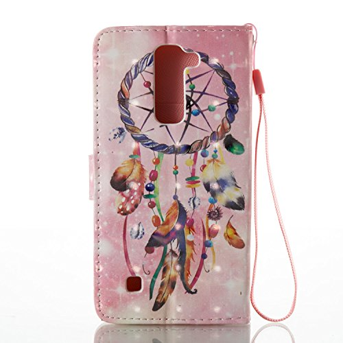 Qiaogle Telefon Case - PU Leder Wallet Schutzhülle Case für Apple iPhone 7 (4.7 Zoll) - YB57 / Golden Blume YB56 / Dreamcatcher