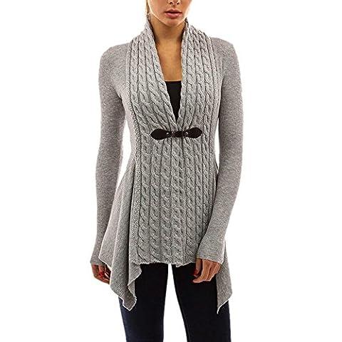 Tonsee Mode féminine sueur à manches longues et décontracté outwear cardigan tricoté (M=EU 36, Gris)