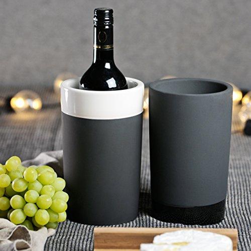 Magisso 70604 Flaschen- und Weinkühler in Keramik, hält das Getränk 4-6 Stunden natürlich abgekühlt durch Verdunstung, 12,7 x 12,7 x 20,9 cm - 8
