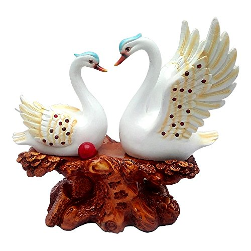 Ceramic Look Duck Pair Statue Showpiece Vastu Decorative Figurine Home Interior Decor Item Feng Shui Love Couple Table Decoration Idol - Handicraft Water Animal Figure Antique Gift Items (L-31 CM)