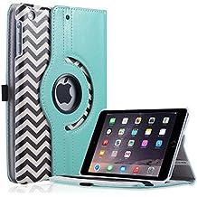 ULAK Funda para iPad Mini 1/2/3 de Apple - Cuero sintético con atril giratorio 360? - Función activación/reposo - diseo con ondas en blanco y negro
