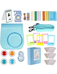 Neewer 27-en-1 Caméra Kit d'Accessoires Bleu pour Fujifilm Instax Mini 8/8s, Comprend (1) Housse + (1) Selfie Objectif + (4) Filtres Colorés +(10) Cadres Suspendu sur Mur + (3) Autocollants Pack +(5) Cadres et Plus