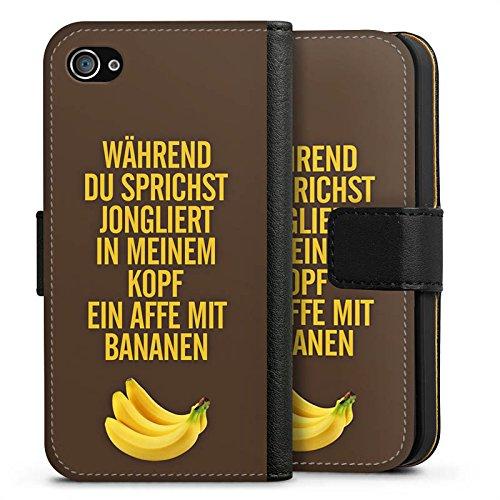Apple iPhone X Silikon Hülle Case Schutzhülle Affe Bananen Sprüche Sideflip Tasche schwarz