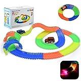Autorennbahn Magic Twister Tracks mit 2 Blinken Autos - HEYSAMO Neon Glow Starter set inklusive 220 Stück (11 feet) Tracks + 2 E-Autos, Spielzeug Rennbahn für Kinder 3 Jahre und Bis.