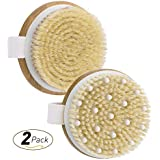Body Brush, OMorc 2 Pack Shower Body Bristle Brush with Massage Nodules for Cleaning, Massaging, Exfoliating, Blood Circulation