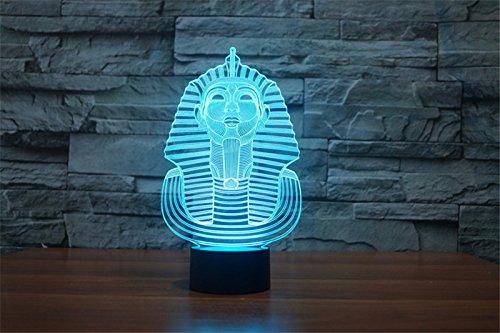 3d Illusion Egipto esfinge Faraon Lámpara luces de la noche ajustable 7 colores LED 3d Creative Interruptor táctil estéreo visual atmósfera mesa regalo para Navidad 7