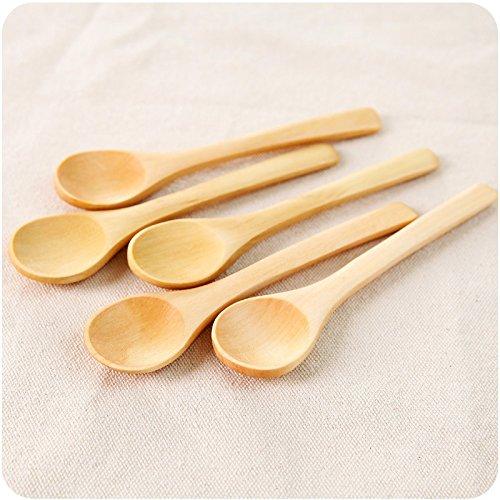 5pc Petite Cuillères en bois Thé café sucre confiture et miel élégant sculpté ustensile de cuisine