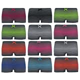 ReKoe 12er Pack Damen Unterwäsche Hotpants Streifen Grau Slips Unterhose Tanga Panty, Größe:M-L = 38/40