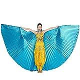 style_dress Ägypten Belly Wings Für Bauchtanz Tanz Schleier Flügel Zubehör Tanzen Kostüm Bauchtanz Zubehör No Sticks Kostüme Fasching Karneval (Blau#1)
