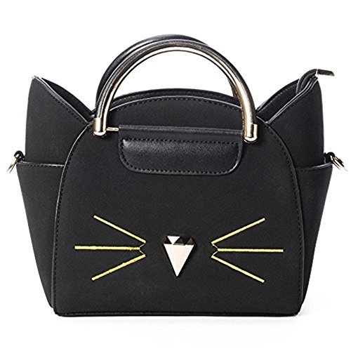 Baonmy da donna Fashion top Handle cute Cat Cross Body borsa a tracolla, Black Black