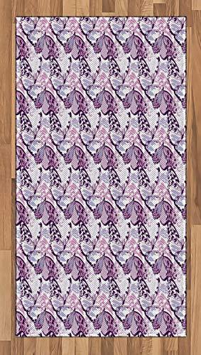 ABAKUHAUS Schmetterling Teppich, Lila Flügel Camo, Deko-Teppich Digitaldruck, Färben mit...