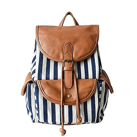 Eleery Vintage Women Girls Canvas Striped Backpack Daypack Bookbag Rucksack Satchel Travel School Casual Bag