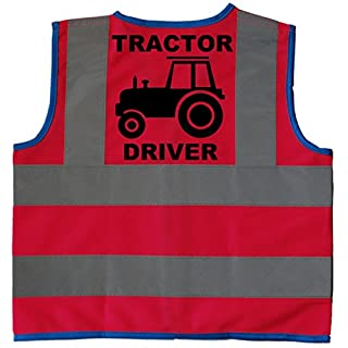 Tractor Driver Baby/Children/Kids Hi Vis Safety Jacket/Vest Size 7-9 Years Pink Optional Personalised On Front