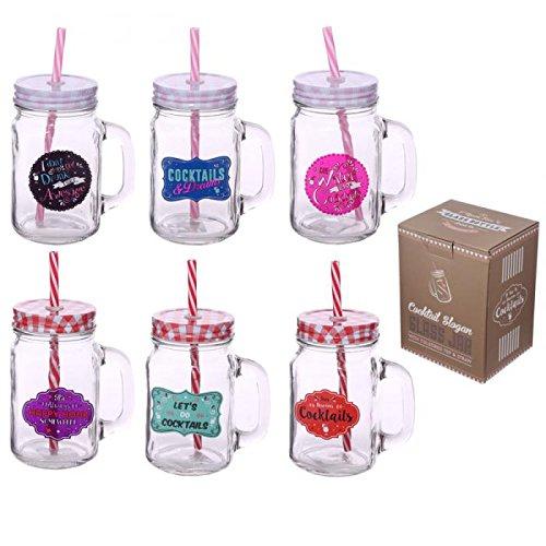Puckator JAR25 - Taza de cristal con tapa y pajita de color...