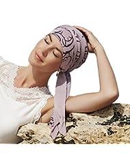 Pañuelo reversible beige liso/estampado Remolinos en bambú ultra suave para mujeres en quimioterapia