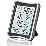 Humidity Meter, [2018 Newest Version]E2Buy Multifunctional Temperature Humidity Monitor LCD Indoor Digital Room Thermometer with Min/Max Records, °C/°F Switch, Accurate Readings for Home Office,etc