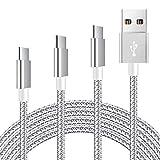 Mitesbony USB Typ C Kabel, Nylon USB Type C Ladekabel [3 Stück 1m 2m 3m] für Samsung Galaxy S9/ S8,Huawei P10/ P9,Sony Xperia XZ,Google Pixel,MacBook,HTC 10/U11(Silber Greu)