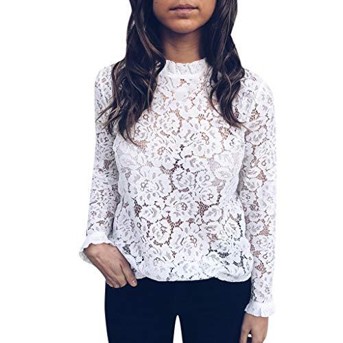 Luckycat Camisa Elegante de Mujer con Perspectiva y Encaje Blusa Manga Larga Pullover Ligero para Primavera Verano Otoño