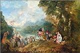 Alu Dibond 120 x 80 cm: Die Einschiffung nach Kythera von Jean Antoine Watteau