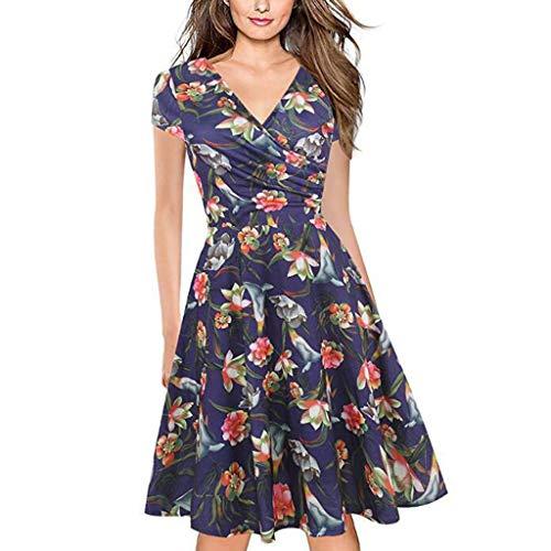 TMOTYE Kleider Damen Sommer, FrauenSchöNer Bekleidung Elegant Frauen Elegant Sommer Blumendruck Abend Party Strandkleid Sommerkleid