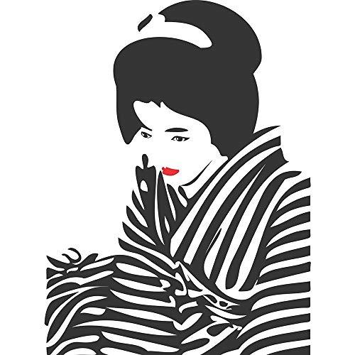 Wee Blue Coo LTD Dt Japan Geisha Lipstick Zebra Art Print Poster Wall Decor Kunstdruck Poster Wand-Dekor-12X16 Zoll -